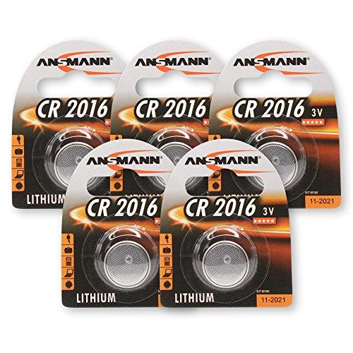 ANSMANN CR2016 pile bouton au lithium batterie 3V pour les clés de voiture/ générateur TAN/ Bouton Batteries - Lot de 5