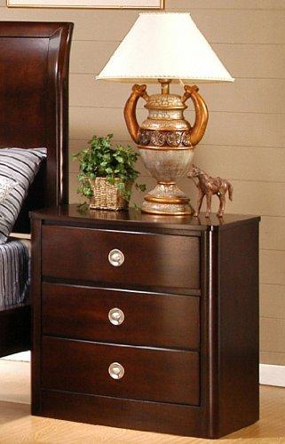 Roundhill Furniture Freya Classic Solid Wood Construction Nightstand, King, Cherry