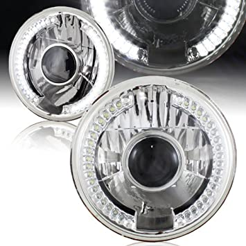 "PAIR H6024 Head Light Glass Housing Lamp Projector Conversion Chrome 7/"" Round"