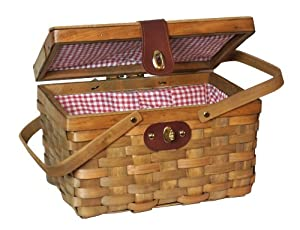 12.5″ Chipwood Picnic Basket with Folding Handles Lined with Red/white Plaid