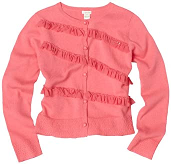 KC Parker Big Girls' Button Front Cardigan Sweater with Mesh Ruffles, Camellia Ros, 7/8