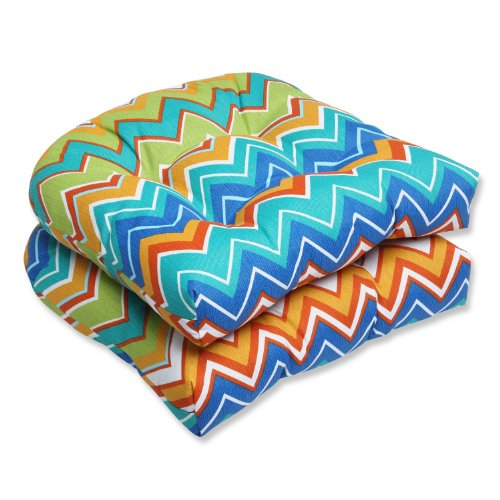 Pillow Perfect Outdoor Zig Zag Wicker Seat Cushion, Orangeade, Set of 2 image