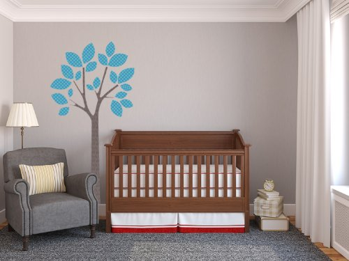 Sunny Decals Modern Tree Fabric Peel and Stick Fabric Nursery Wall Sticker, Blue