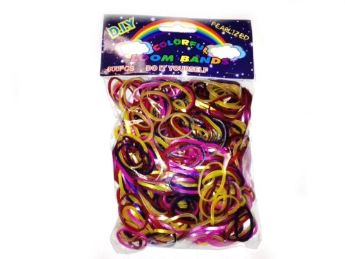 WeGlow International Colorful Loom Bands (900 Loops and 24 S-Clips), Pearlized Assorted Dark Colors - 1