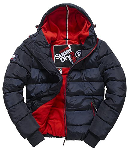 SUPERDRY Polar Sports Puffer, Giacca Uomo, Navy/Red26S, 2XL