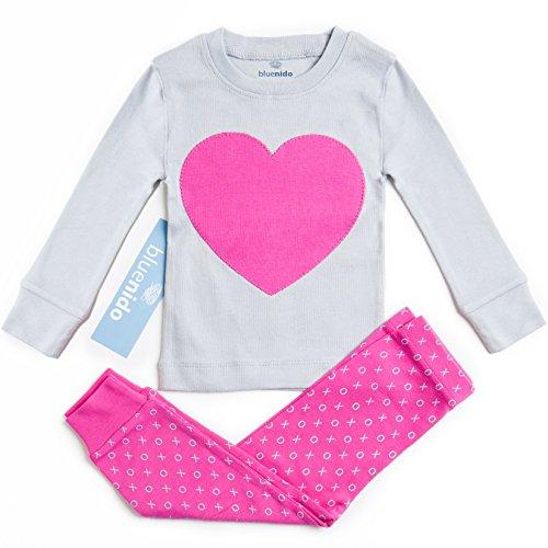 SUPER SOFT HEART 2 PIECE PAJAMA SET 100% COTTON (SIZE 12M-7Y) 2 FREE GIFTS, 18 Months, PINK / GREY