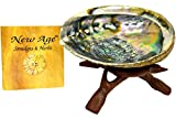 """New Age Smudges and Herbs Abalone Shell 5-6"""" & 6"""" Wooden Tripod"""