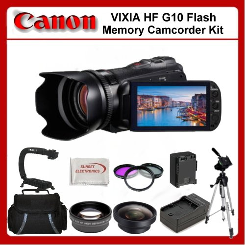 Canon VIXIA HF G10 Flash Memory Camcorder Kit. Package Includes: 0.45x Wide Angle Lens, 2X Telephoto Lens, 3 Piece Filter Kit(UV-CPL-FLD), Hand Grip, 67