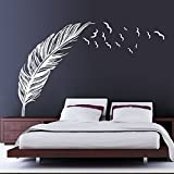 Wishwonderway Removable Feather Abstract Fly Right Mural Wall Stickers Wall Art Decal for Home Decor (White)