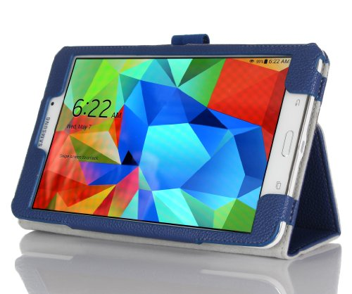 Procase Samsung Galaxy Tab 4 8.0 Tablet Case With Bonus Stylus Pen - Bi-Fold Stand Cover Case For 8 Inch Galaxy Tab 4 (2014 Released), With Auto Sleep/Wake, Hand Strap (Navy, Dark Blue)