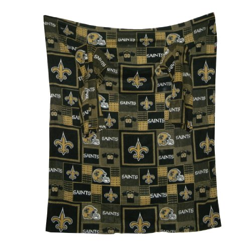 NFL New Orleans Saints Large ソファー枕にスリーブそれは畳に毛布を投げるThrow Blanket With Sleeves that folds into a Couch Pillow - ブラック&ブラウンBlack & Brown