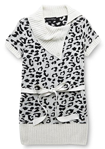 Short Sleeve Big Girls Animal Print Knit Belted Sweater (L (14), Leopard Print)