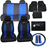 Hyundai i10 i20 Universal Car Seat Cover Set 15 Pieces Blue 305