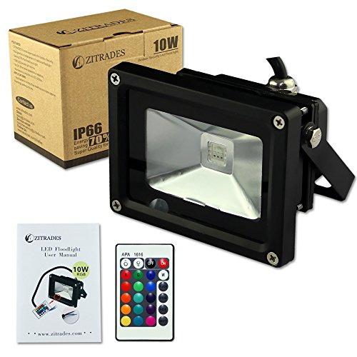 Zitrades Ip66 Waterproof 10W Dc 12V Rgb Led Flood Light Outdoor Lights Black Case