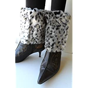 Gray Snow Cat Faux Furry Leg Warmer Cuff Muff Boot Cover 7