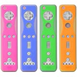 Fosmon 4 Pack Two-Tone Silicone Skin Case for Nintendo Wii Remote and Nunchuk (Nunchaku) - Blue, Green, Orange, Pink