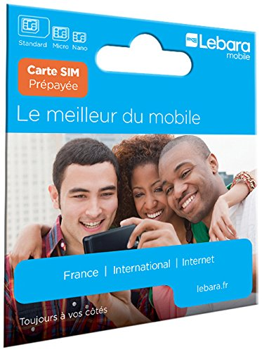 Carte Sim prépayée Lebara incluant 7,50E de crédit (5E + 2,50E offerts) - Appels, SMS et internet en France et à l'international à prix réduits.