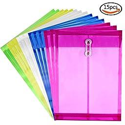 Goodlucky365 Letter Size Poly String Envelope with Expandable Gusset, 15 Pcs Mix Colors Set, Water/tear Resistant-translucent