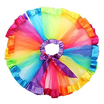 Girls Layered Rainbow Tutu Skirt Rave Party Ballet Dance Ruffle Tiered Tutu Clubwear