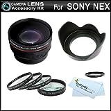 Essential Lens Kit For Sony NEX-F3 NEX-7 NEX-5N NEX-5 NEX-3 NEX-C3 NEX-5R Interchangeable Lens Camera (That Use E-Mount 18-55mm 30mm 16mm 24mm 55-210mm 50mm Lenses) HD Wide Angle Lens w/ Macro + Close Up Lens Kit + 3pc Filter Kit (UV-CPL-FLD) +