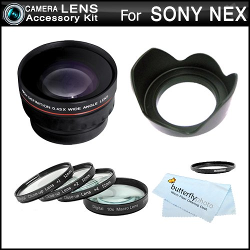 Essential Lens Kit For Sony Nex-F3, Nex-7, Nex-5N, Nex-5, Nex-3, Nex-C3, Nex-5R Interchangeable Lens Camera (That Use E-Mount 18-55Mm, 30Mm, 16Mm, 24Mm, 55-210Mm, 50Mm Lenses) Hd Wide Angle Lens W/ Macro + Close Up Lens Kit + 3Pc Filter Kit (Uv-Cpl-Fld) +