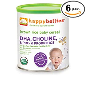 (辅食)禧贝HAPPYBELLIES 超级谷物DHA+益生菌+胆碱有机糙米米粉6罐SS折后仅$19.15