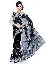 Designersareez Women Chiffon Embroidered Black Saree With Unstitched Blouse(1409)