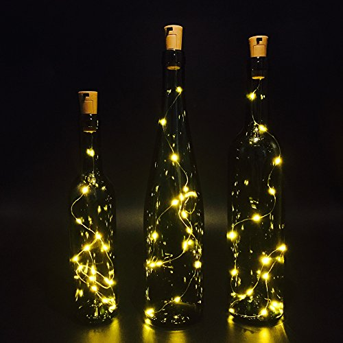 Set of 3 Wine Bottle Lights, ATTAV Warm White LED Cork Shaped Starry String Lights - 15LED 30inch/75cm Copper Wire Fairy Lights for Bottle DIY, Party, Decor, Christmas, Wedding, Dancing (Warm Wine Glass compare prices)