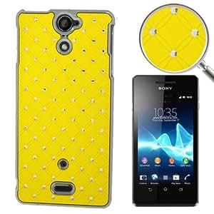 Luxury Bling Diamond Plating Skinning Plastic Case for Sony Xperia V / LT25i (Yellow)