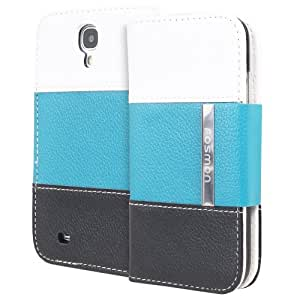Fosmon CADDY Series Leather Wallet Case for Samsung Galaxy S4 IV / I9500 (White - Teal - Black)