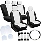 Oxgord 21pc White & Black PU Leather Seat Cover & 4pc Clear Ridge Rubber Floor Mats Set for Toyota Cars