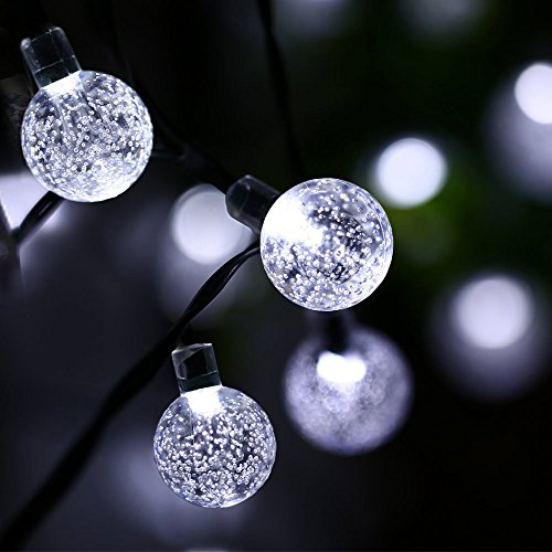 Qedertek Globe Solar String Lights, 19.7ft 30 LED Fairy Lights, Outdoor Solar Lights for Home ...