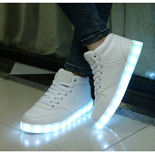 topteck wei damen herren led licht schuhe high top. Black Bedroom Furniture Sets. Home Design Ideas