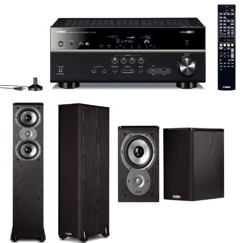 Yamaha Rx-V577 7.2 Channel Networking Home Theater Receiver Plus A Pair Of Polk Audio Tsi 300 3-Way Floorstanding Speakers & Tsi 100 Bookshelf Speakers