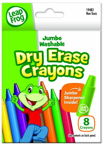LeapFrog Jumbo Washable Dry Erase Crayons, 8 Colors with Sharpener (19483)