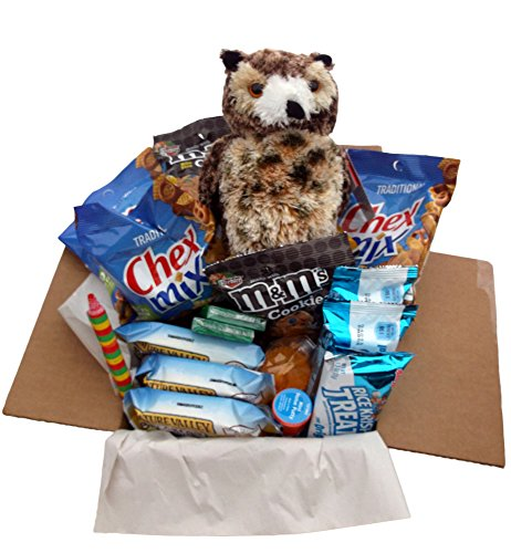 Snack/Care Package – Bundle of Single-serving Snacks Like Chex Mix, Breakfast Bars and Cookies for Energy and Toys for Fun Featuring an 8″ Stuffed Osmond the Owl, Great Gift for College or Boarding Student (Owl Lg) image