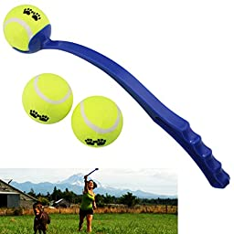 Dog Ball Launcher / Thrower By Dfied - Comes with 3 Tennis Balls - Thrower Is Light Weight & Durable (Colors Vary) - Handle 14\