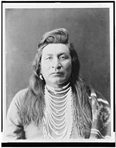 Photo: Nez Perce man,wearing bead necklace,with blanket over shoulder