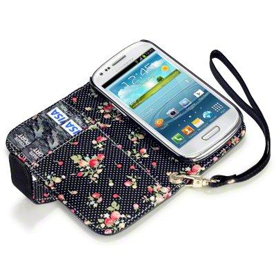 Flip Leder Handytasche Case Etui Hülle für Samsung Galaxy S3 Mini i8190 Schwarz Floral Print innen