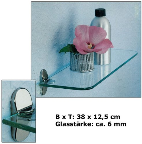 Glasregal-Glasregale-Wandregal-Badregal-Ablage-Regal-Glasablage-Glas-38x12