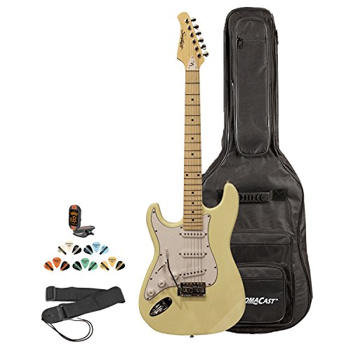 Sawtooth St-Es-Lh-Vcw-Kit-2 Left Handed Electric Guitar In Citron Vanilla Cream With White Pickguard, Lesson, Gig Bag, Picks, Tuner And Strap