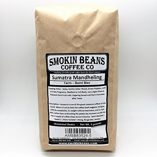 5 LBS - SUMATRA IN A BURLAP BAG - Farm: Burni Bies, Grade 1, 1600m, Notes: Spice, Earthy Cedar Wood, Peppers, Dark Fruit, Specialty-Grade Green Unroasted Whole Coffee Beans, for Home Coffee Roasters
