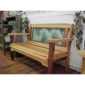 Wood Country Wood Country Gingko Leaf Red Cedar Garden Bench, Medium Wood, Metal, 48L x 18.5W x 36H in.