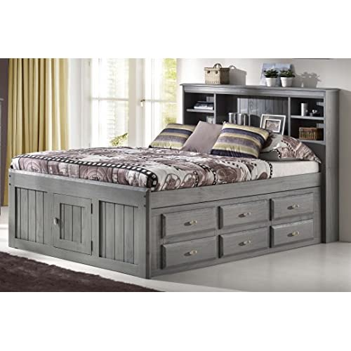 Discovery World Furniture Charcoal Full Bookcase Captain Bed With 6 Drawer storage
