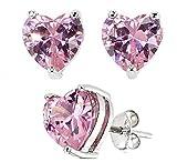 .925 Sterling Silver 7mm Heart Shape Pink Cubic Zirconia Stud Earrings