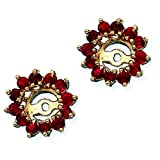 14K Yellow Gold 1 3/8 ct. Ruby Earring Jackets