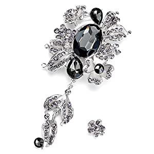 Pugster Vintage Black Crystal Floral Dangle Brooches And Pins