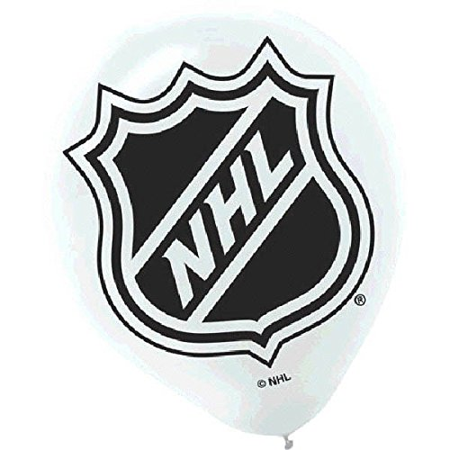 "Amscan National Hockey League Printed Latex NHL Party Balloons, 12"", White/Black"