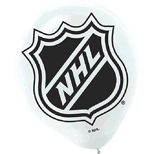 "Amscan National Hockey League Printed Latex NHL Party Balloons, 12"", White/Black"