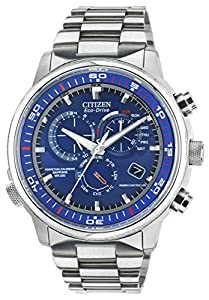 Citizen Watch Nighthawk A.T. Men's Quartz Watch with Blue Dial Analogue Display and Silver Stainless Steel Bracelet AT4110-55L